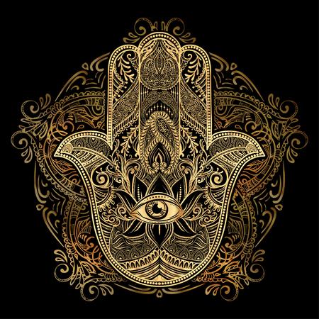 Hand gezeichnet Aufwändige Amulett Hamsa Hand von Fatima. Ethnische Amulett gemeinsam in der indischen, arabischen und jüdischen Kulturen.