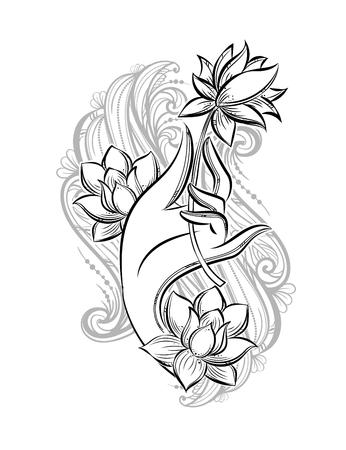 Main de Bouddha tenant un lotus comme symbole de pureté, de spiritualité et d'illumination. Tatouage isolé de vecteur dessiné à la main