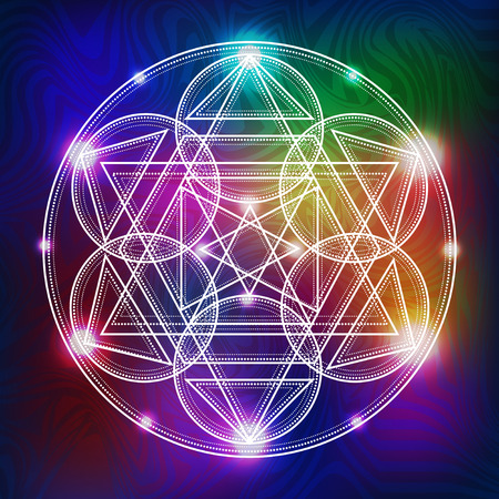abstract vector background with consecrated symbols of sacred geometry Çizim