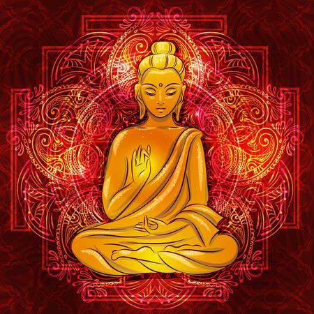 verschnörkelt: Buddha sitzt im Lotussitz mit einer beleuchteten Fläche auf dem Hintergrund des Mandala