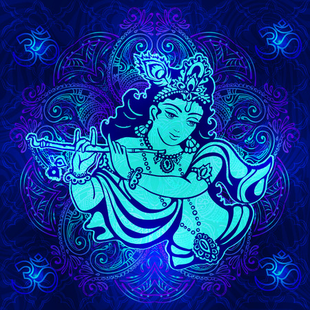 position d amour: Krishna playing the flute on a psychedelic background. Vector poster for a party, printing on T-shirts, greeting cards or invitations