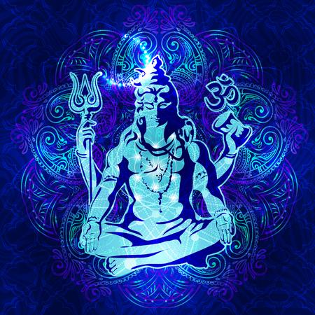 position d amour: Shiva - L'image spirituelle transcendantale de la méditation. Seigneur Shiva assis dans la position du lotus Illustration