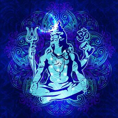 lotus position: Shiva - The transcendental spiritual image of the in meditation. Lord Shiva sitting in the lotus position Illustration