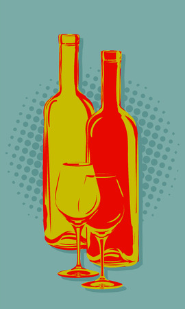 wine store: The yellow and red bottles and glasses of wine on the green background. Illustration in vintage style. It can be used as an advertisement for a wine store. Illustration