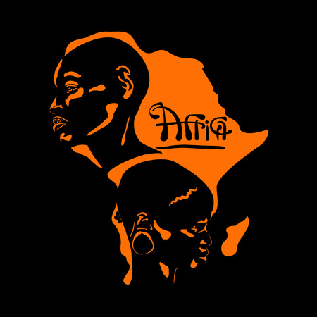 stylized portrait of an Africans male and woman in a profile against the backdrop of an orange cards Africa, on a black background