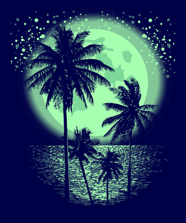 night moon: Tropical Full Moon over the ocean. Reflection of palm trees and tropical moon night. Vector Illustration