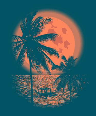 海の上の熱帯の満月。ヤシの木と熱帯の満月の夜の反射。ベクトル