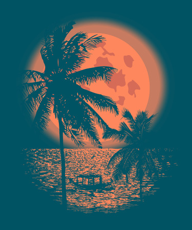 Tropical Full Moon over the ocean. Reflection of palm trees and tropical moon night. Vector Stock fotó - 66435152