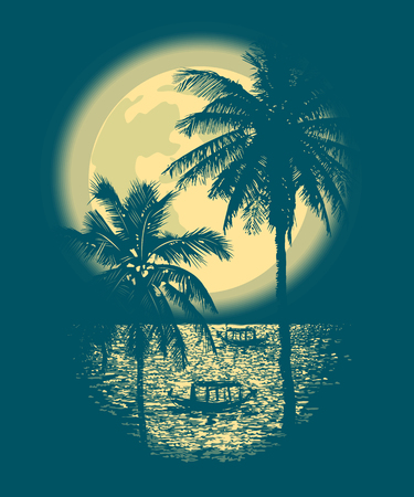 Tropical Full Moon over the ocean. Reflection of palm trees and tropical moon night. Vector Illustration