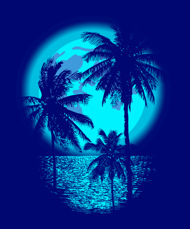 Tropical Full Moon over the ocean. Reflection of palm trees and tropical moon night. Vector Ilustração