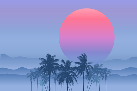Tropical sunrise with pink gradient sun and silhouette of palm trees and mountains in the background of blue sky