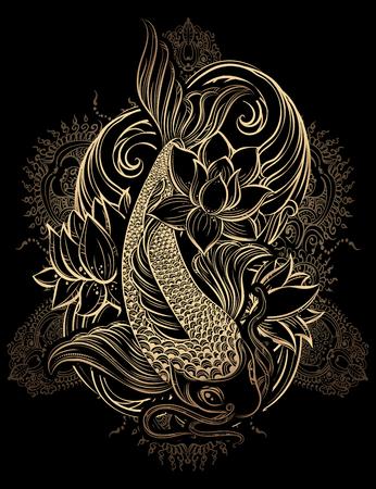 검은 색 바탕에 연꽃과 파도와 황금 잉어 잉어 - 손 아시아 영적인 기호를 그려. 그것은 문신과 엠보싱 또는 색상에 사용할 수 있습니다
