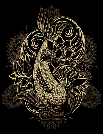 Hand drawn Asian spiritual symbols - gold koi carp with lotus and waves on a black background. It can be used for tattoo and embossing or coloring