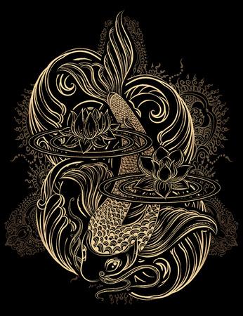 Dibujado a mano símbolos espirituales de Asia - la carpa koi de oro con loto y las olas sobre un fondo negro. Se puede utilizar para tatuaje y gofrado o colorante Ilustración de vector