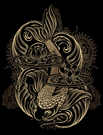 Hand drawn Asian spiritual symbols - gold koi carp with lotus and waves on a black background. It can be used for tattoo and embossing or coloring Vector Illustration