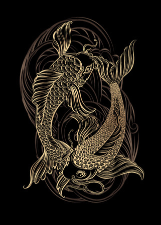 Dibujado a mano símbolos espirituales de Asia - la carpa koi de oro con loto y las olas sobre un fondo negro. Se puede utilizar para tatuaje y gofrado o colorante
