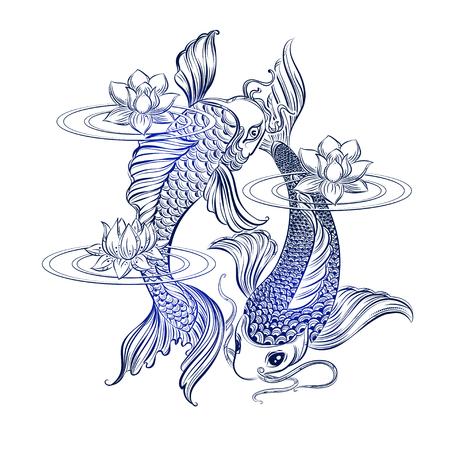 Dibujado a mano símbolos espirituales de Asia - la carpa koi con loto y las olas. Se puede utilizar para tatuaje y gofrado o colorante