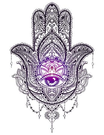 dibujado a mano amuleto adornado Hamsa mano de Fátima. amuleto étnica común en las culturas indias, árabes y judíos.