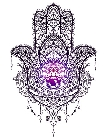 Hand drawn Ornate amulet Hamsa Hand of Fatima. Ethnic amulet common in Indian, Arabic and Jewish cultures. Vectores