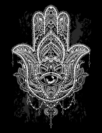 Hand drawn Ornate amulet Hamsa Hand of Fatima. Ethnic amulet common in Indian, Arabic and Jewish cultures. Illustration