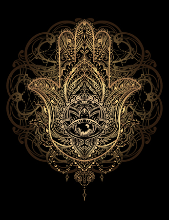 dibujado a mano amuleto adornado de la mano de Hamsa del diseño Fatima.Tattoo. amuleto étnica común en las culturas indias, árabes y judíos.