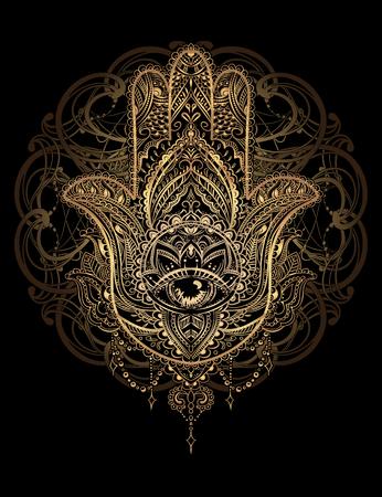 Hand gezeichnet Aufwändige Amulett Hamsa Hand von Fatima.Tattoo Design. Ethnische Amulett gemeinsam in der indischen, arabischen und jüdischen Kulturen.
