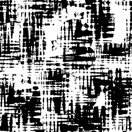 vortices: Seamless abstract black and white pattern consisting of a zigzags and curly vortices Illustration