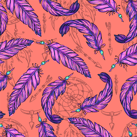 sketched arrows: Boho chic - vector seamless pattern handmade. Tribal Indian ethnic background texture and ornament. Hippie, Gypsy and tribal sketched background with arrows and Dreamcatcher. . Illustration