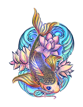 koi: Hand drawn Asian spiritual symbols - colorful koi carp with lotus and waves. It can be used for tattoo and embossing or coloring Illustration