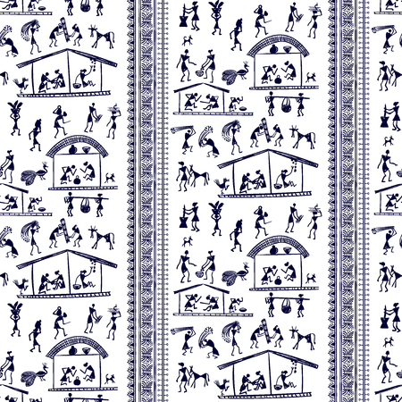 rural india: Warli painting seamless pattern - hand drawn traditional the ancient tribal art India. Pictorial language is matched by a rudimentary technique depicting rural life of the inhabitants of India