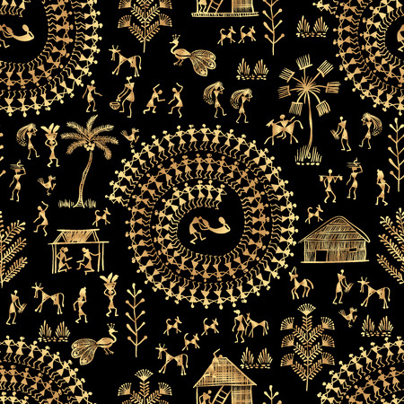 Warli painting seamless pattern - hand drawn traditional the ancient tribal art India. Rudimentary Technique depicting rural life of the inhabitants of India. Gold on a black background