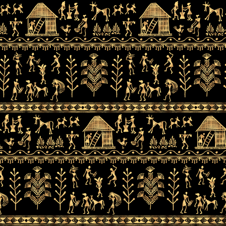 rural india: Warli painting seamless pattern - hand drawn traditional the ancient tribal art India. Rudimentary Technique depicting rural life of the inhabitants of India. Gold on a black background