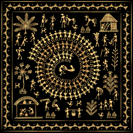 rural india: Warli peynting - hand drawn traditional the ancient tribal art India. Rudimentary Technique depicting rural life of the inhabitants of India. Gold on a black background