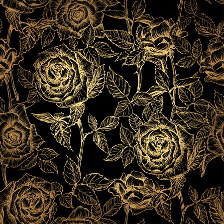 hand drawn gold elegant seamless pattern of roses and petals in old engraving style. Gold rose on a black background