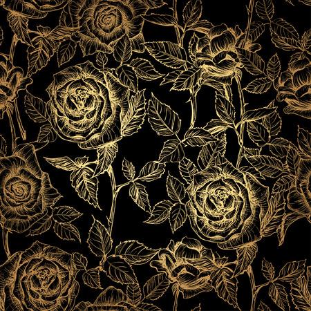 Hand gezeichnetes Gold elegantes nahtloses Muster von Rosen und von Blumenblättern im alten Stichart. Gold stieg auf einem schwarzen Hintergrund