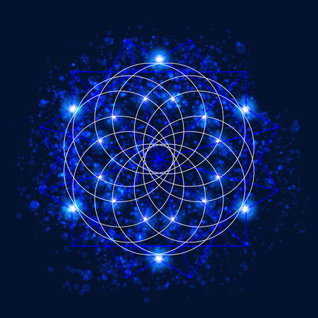 Abstract background with consecrated symbols of sacred geometry, outer space and luminous stars. Vector illustration