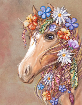 Digital art - a horse's head with flowers and feathers in Hippie style. Bohemian chic. Standard-Bild