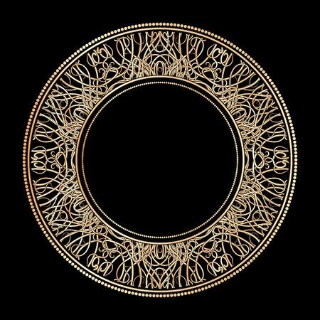 gilt: Round ornate gold frame consisting of vignettes in art nouveau style on a black background. Vector illustration