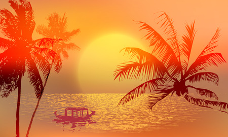 Banner - tropical sunset or sunrise in yellow, red and orange shades. Palm trees against the setting sun and its reflections on the water surface.