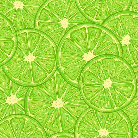 citrus fruit: Lime pattern seamless consisting of a slice of citrus fruit Illustration