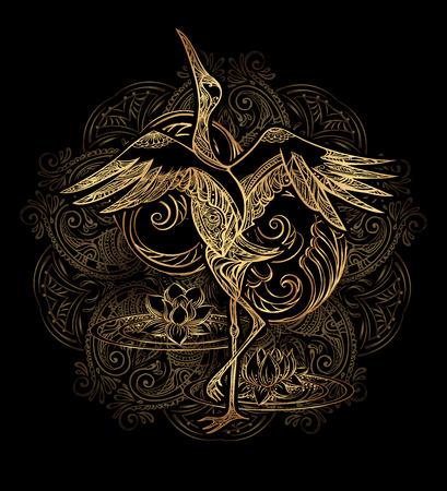 Grue tatouage avec lotus sur fond mandala. Or sur le noir Banque d'images - 67947326