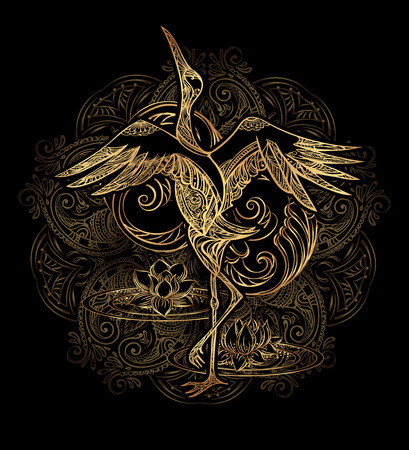 Crane tattoo with lotus on background mandala. Gold on black