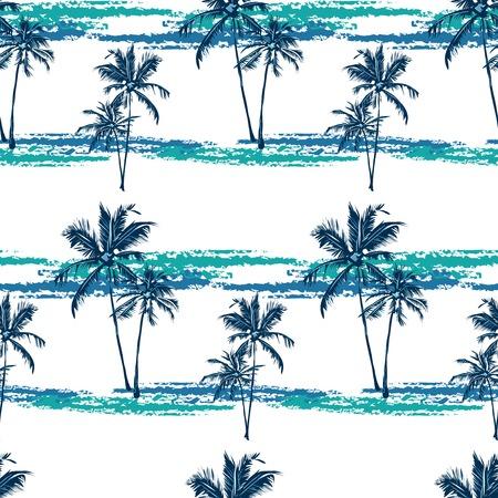 明るい背景でヤシの木を描いた熱帯パターンをシームレスなベクトル  イラスト・ベクター素材