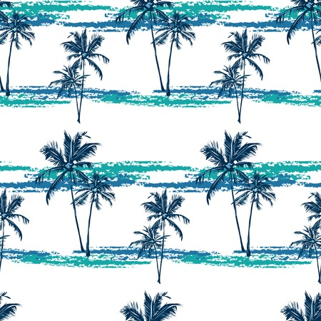 Seamless vector tropical pattern depicting palm trees on the bright background Çizim