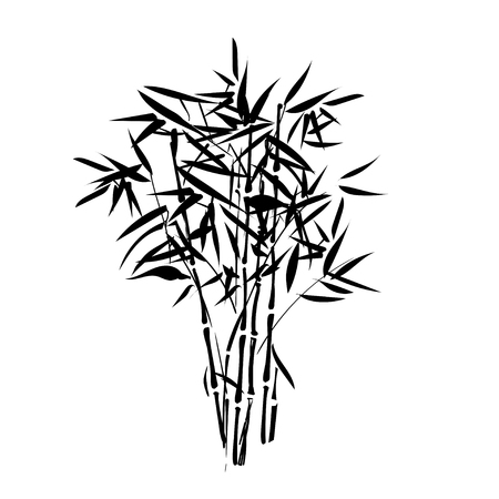 palmetto: Isolated tropical bamboo silhouette can be used as a sticker