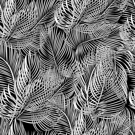 Seamless black and white tropical pattern of Palm branch and leaves. Vector illustration