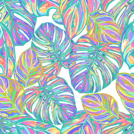 Tropical exotic seamless vector pattern in fashion trend pastel shades. Hand-drawn fantastic multicolor leaves a black background