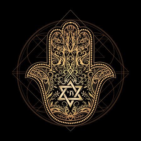 Hamsa oder Hand von Miriam, Palm Davids, Davidstern, Rosch Haschana, Chanukka, Shana Tova - Elegant Hand isoliert traditionelle jüdische heilige Amulett und religiöse Symbole gezeichnet