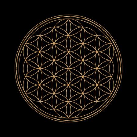 Monocromático del extracto del oro símbolos abstractos de la geometría sagrada, se entrelazan forma, línea del triángulo sobre fondo negro Foto de archivo - 67951515
