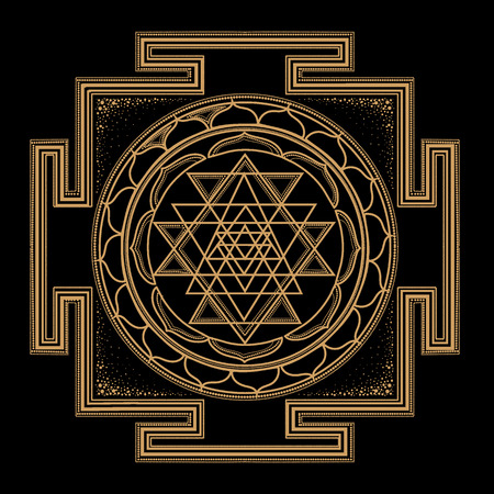 abstract gold monochrome abstract symbols of sacred geometry, intertwine shape, triangle line on black background